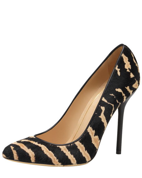 Printed Calf Hair Pointed Pump