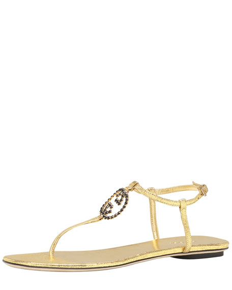 Metallic GG Thong Sandal