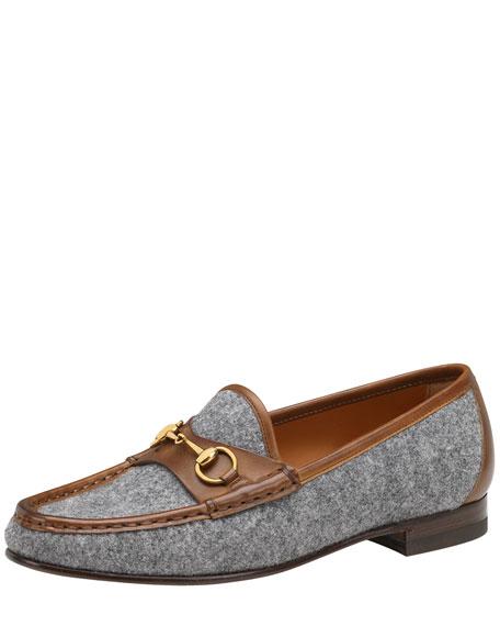 Leather-Trim Felt Loafer