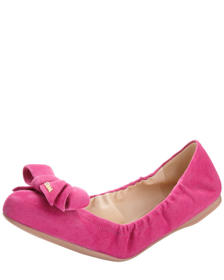 Suede Bow-Toe Ballet Flat