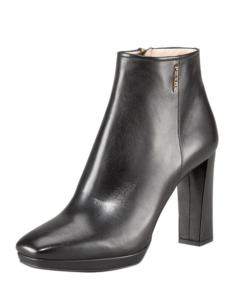 Leather Square-Toe Platform Bootie