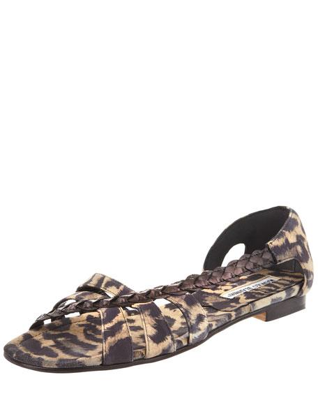 Leopard-Print Suede Sandal