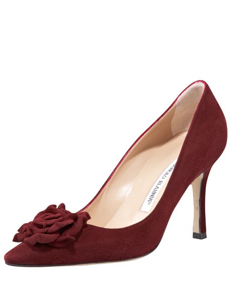 High-Heel Suede Flower Pump