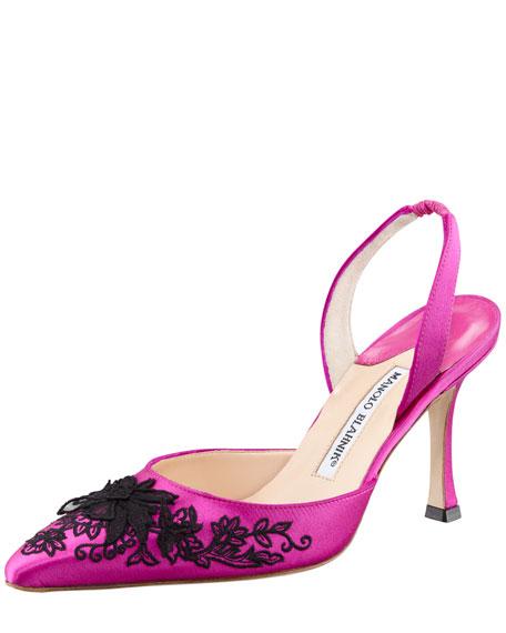 Carolyne Embroidered Satin High-Heel Halter, Magenta