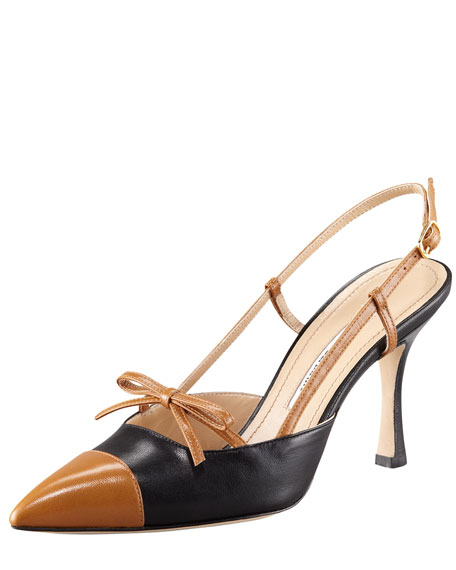 Bicolor Slingback With Bow And Cap Toe
