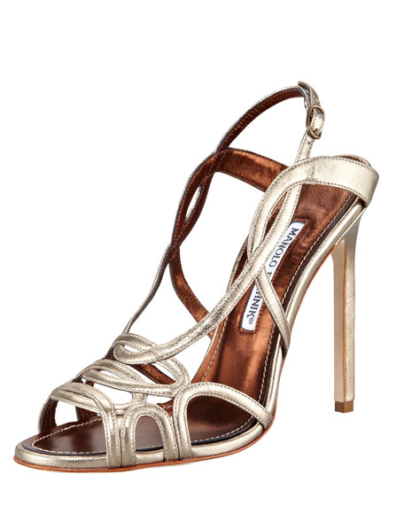 Fertillia Metallic Leather Slingback Sandal