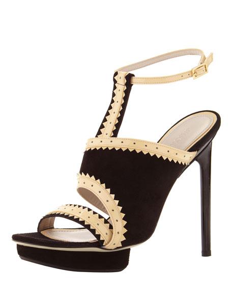 Asymmetric Ankle-Wrap Platform Sandal