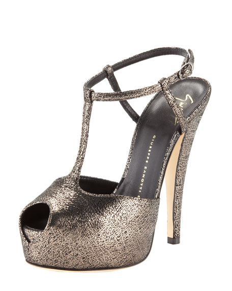 Crackled T-Strap Platform Sandal