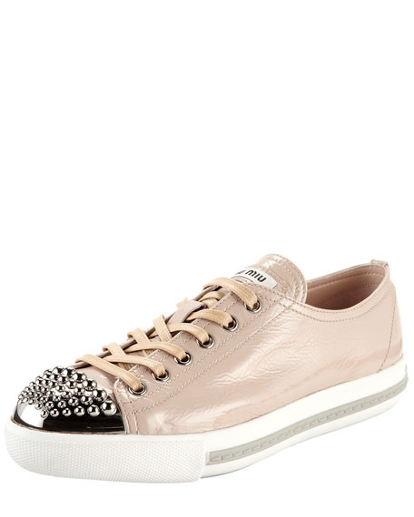 Studded Toe Patent Sneaker