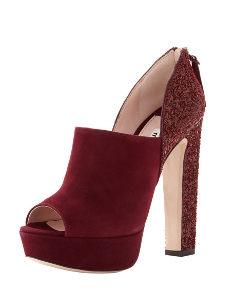 Suede and Glitter Bootie