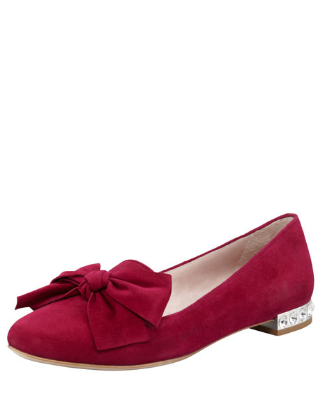 Jewel-Heel Suede Loafer