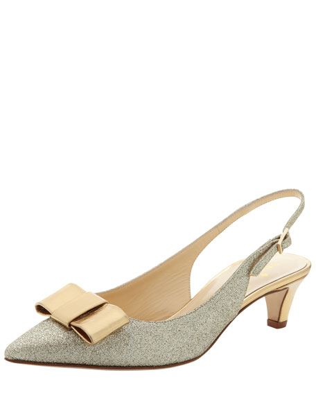 sincere glitter bow slingback