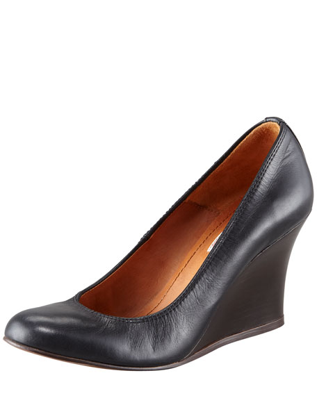 Calfskin Ballerina Wooden Wedge