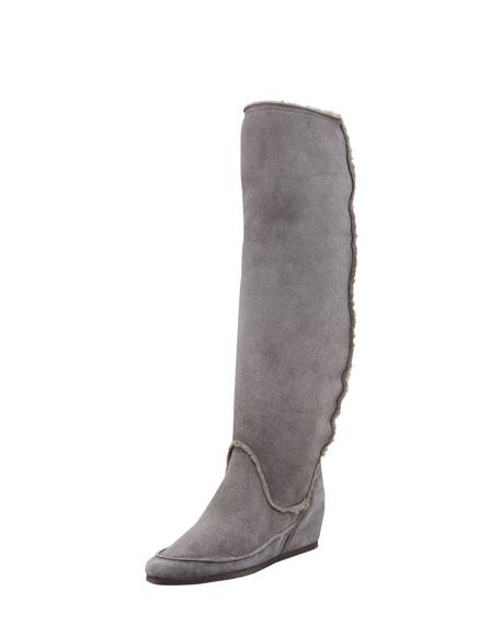 Shearling Hidden-Wedge Boot