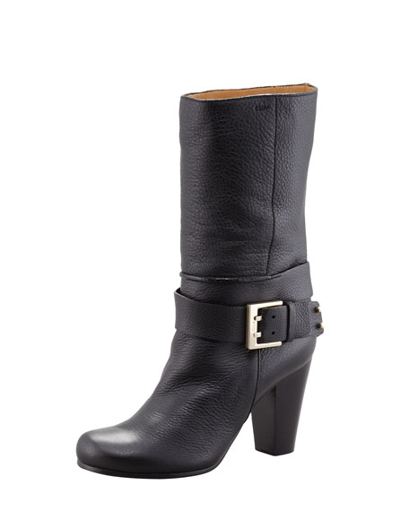 Buckled Ankle-Wrap Boot