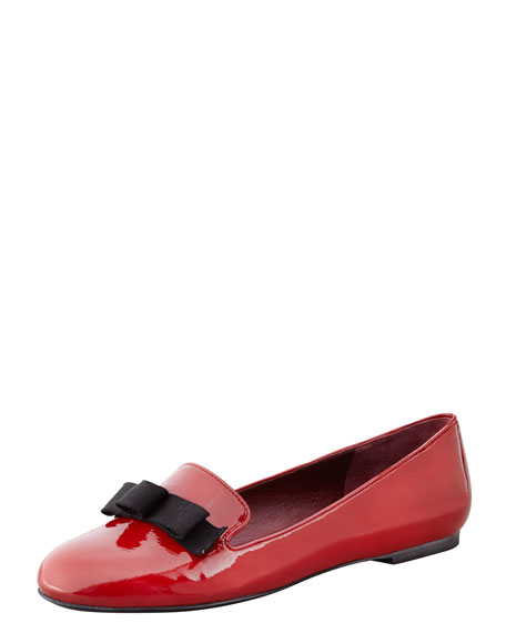 Tailored Patent Leather Bow Loafer