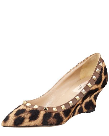 Rockstud Leopard-Print Calf Hair Wedge Pump
