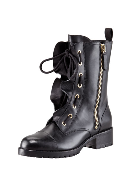 Ruffled Lace-Up Biker Boot