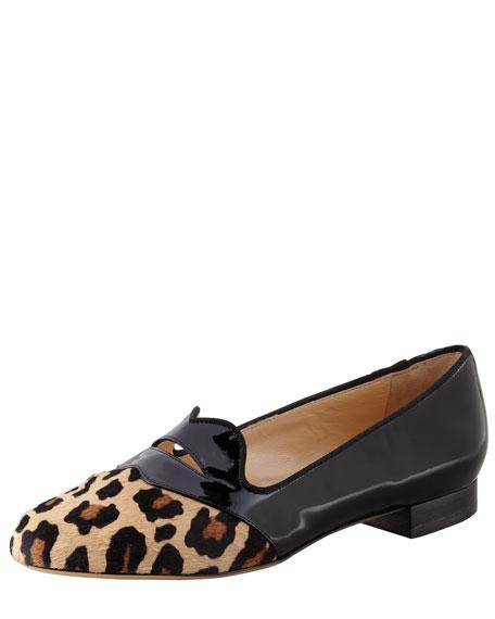 Bisoux Leopard-Toe Patent Slipper