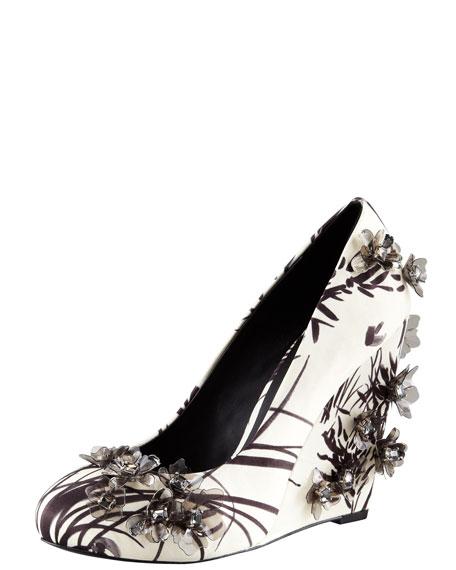 Pixie Floral-Applique Satin Wedge Pump
