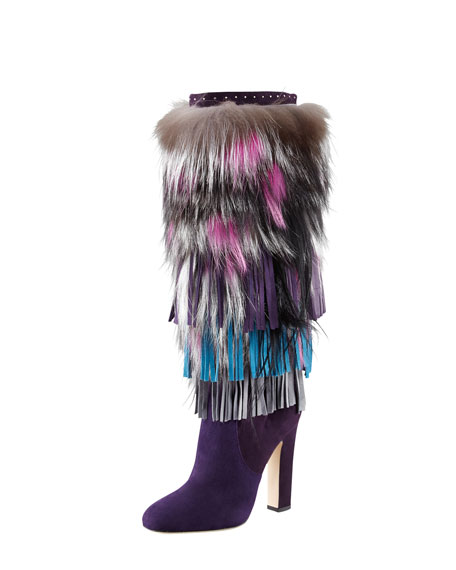 Dalia Fringed Suede and Fur Boot