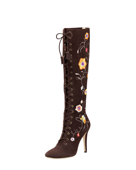 Corinna Floral-Embroidered Suede Boot