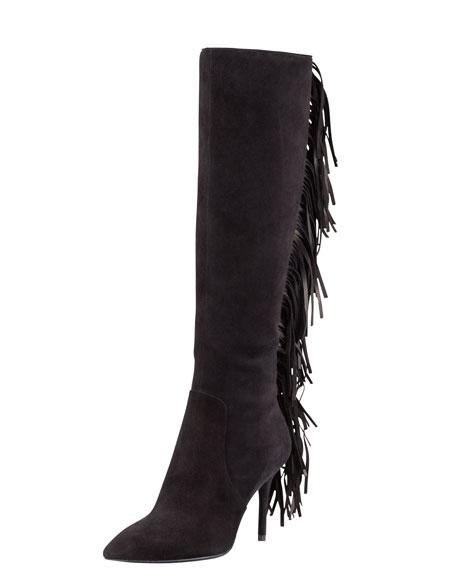 Mella Back-Fringe Suede Boot