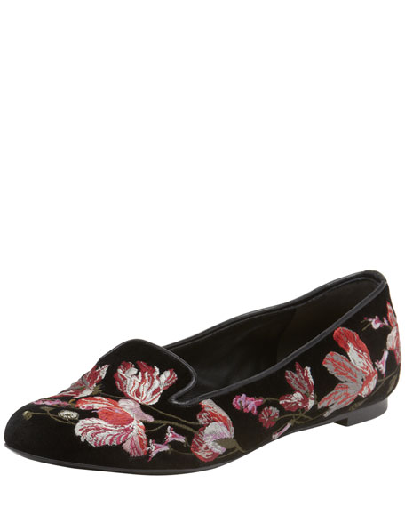 Floral-Embroidered Smoking Slipper