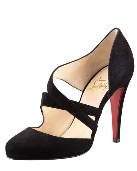Citoyenne Asymmetric-Strap Suede Red Sole Pump