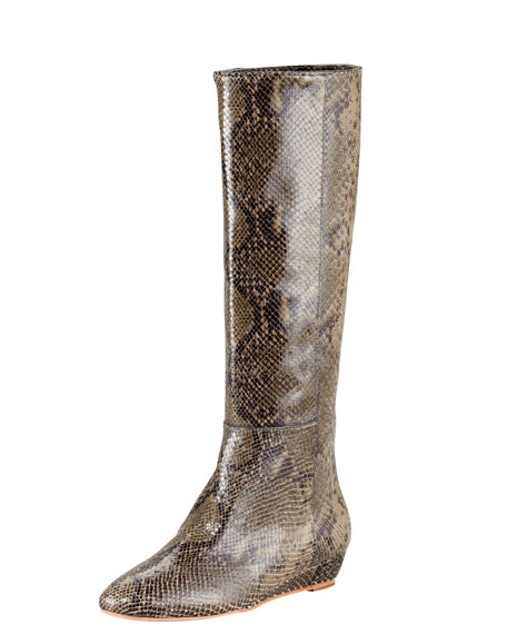 Snake-Print Leather Micro-Wedge Boot