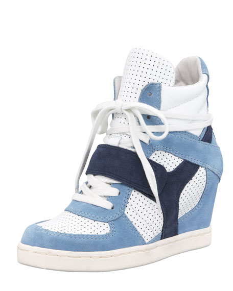 Perforated Suede Wedge Sneaker