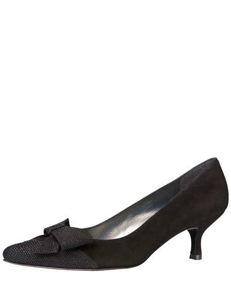 Charmpum Kitten-Heel Pump, Black