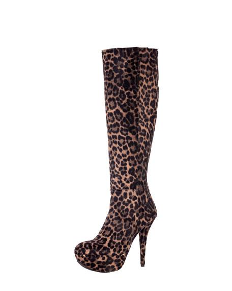 Vivid Leopard-Print Calf Hair Boot