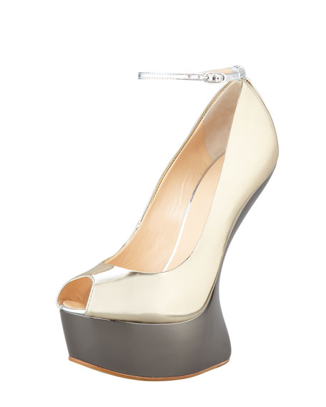 No-Heel Metallic Platform Pumps