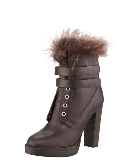 Fur-Lined High-Heel Boot
