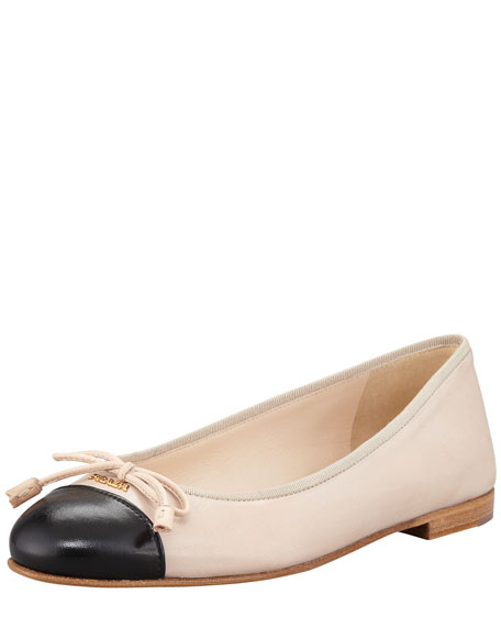 Bicolor Leather Cap-Toe Ballerina Flat