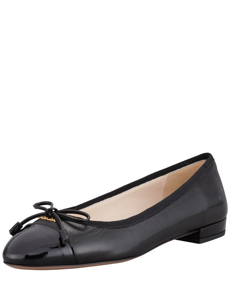 Leather & Patent Bow Ballerina Flat