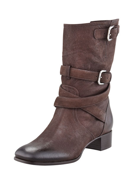 Belted Leather Ankle Boot