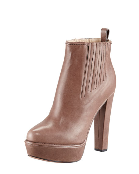 Leather Platform Ankle Bootie