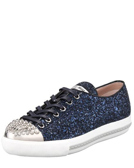 Studded Cap-Toe Glitter Sneaker