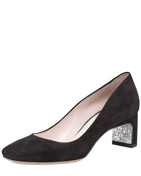 Suede Square-Toe Pump