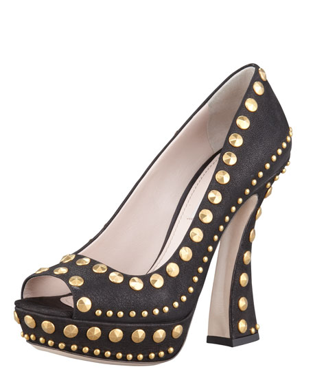 Studded Open-Toe Platform Pump