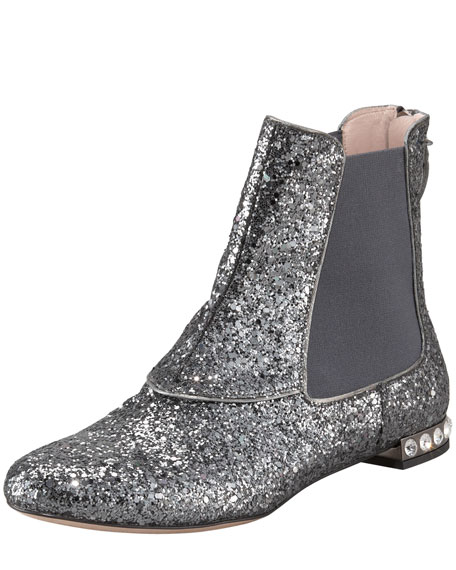 Glittered Jewel-Heel Bootie