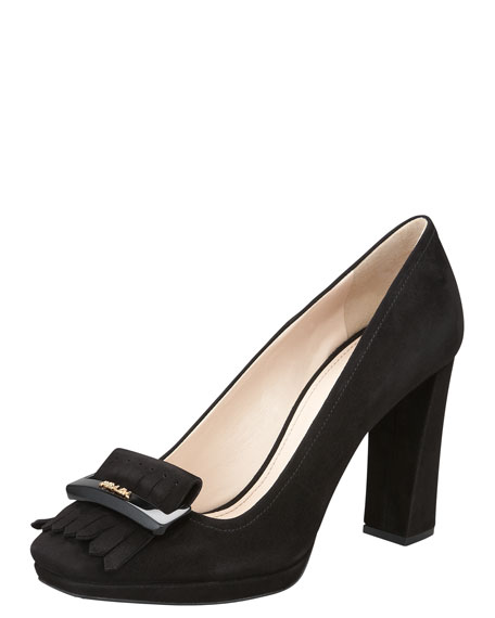 Suede Square-Toe Fringe Pump