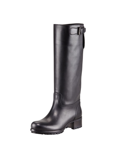 Leather Side-Zip Buckle Boot