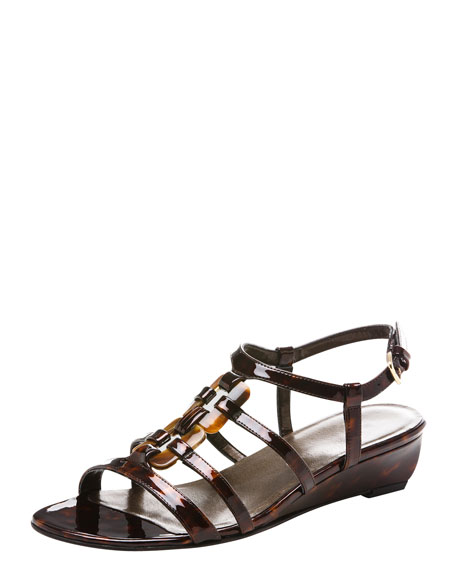 Patent Strappy Wedge Sandal
