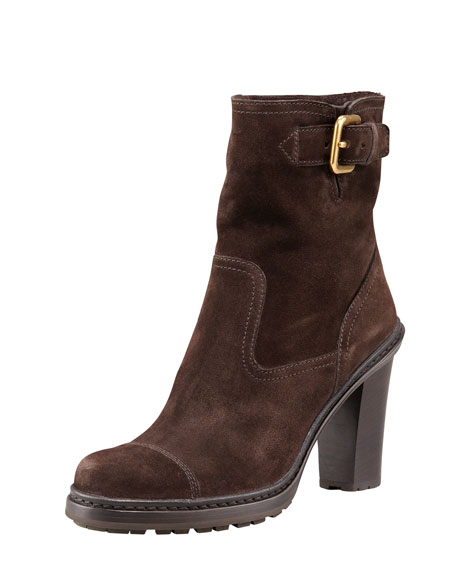 Side Buckle Suede Ankle Boot