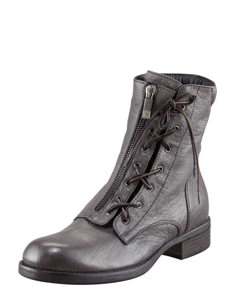 Lace-Up Zip Ankle Boot