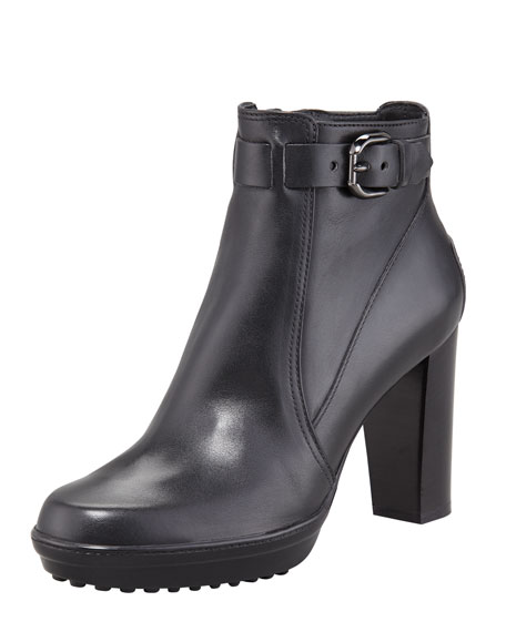 Belted Ankle Boot, Black