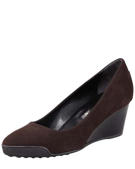Suede Wedge, Dark Brown